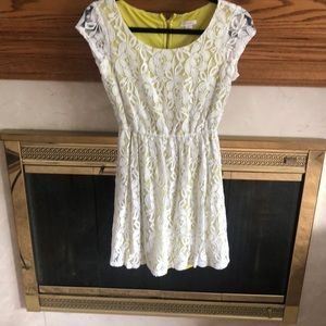 White lace over chartreuse green midi length dress